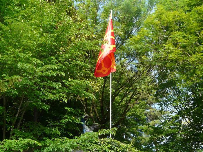 Nafarroako bandera Arrasateko dragoiaren aldamenean