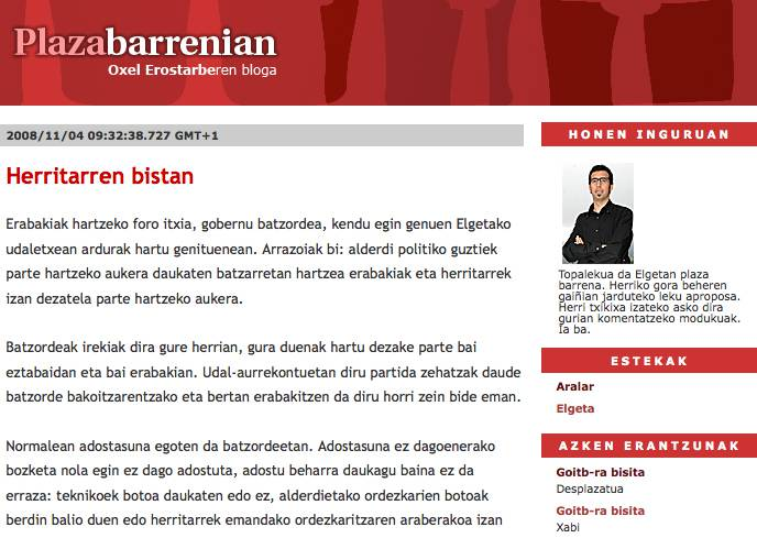 Oxel Erostarbek bloga on-line dauka