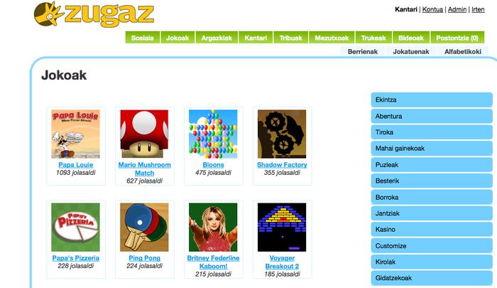 Zugaz.com-eko jokoek arrakasta itzela gaztetxoen artean